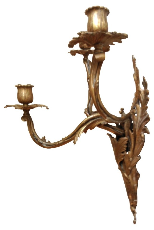 3-Arm Bronze Sconces, Pair