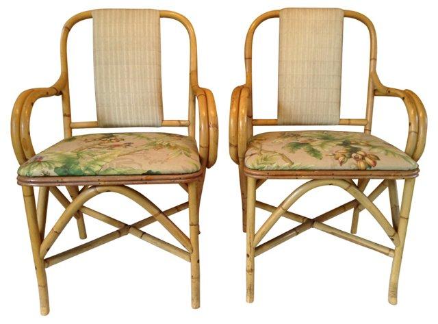 Bamboo  Chairs, Pair