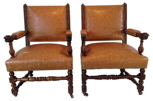 French Chairs w/ Carved Arms, Pair