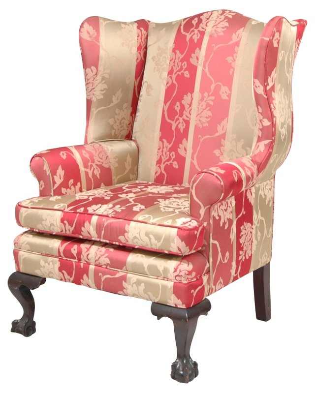 Silk  Chippendale-Style Wingback