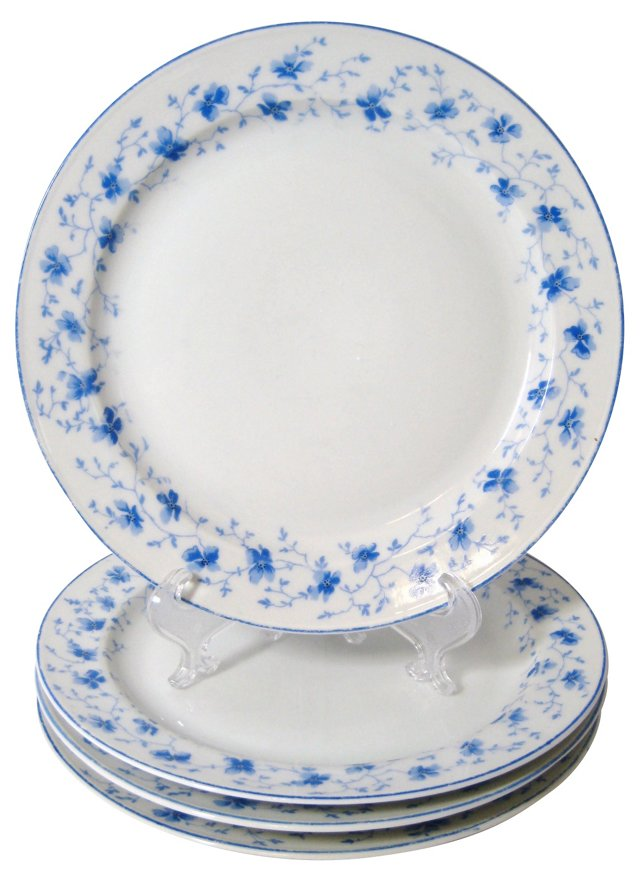 Blue & White Floral Lunch Plates, S/4