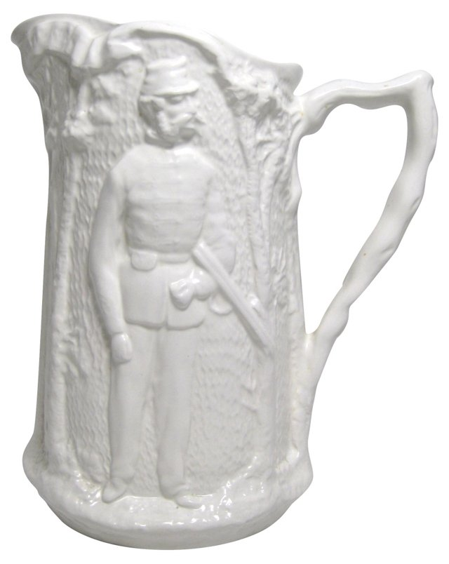 Staffordshire Salt Glaze Hunter Pitcher