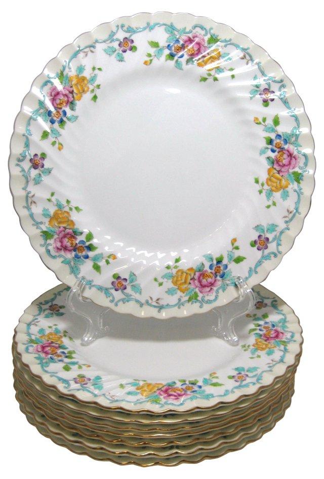 Minton Floral Dinner Plates, S/8
