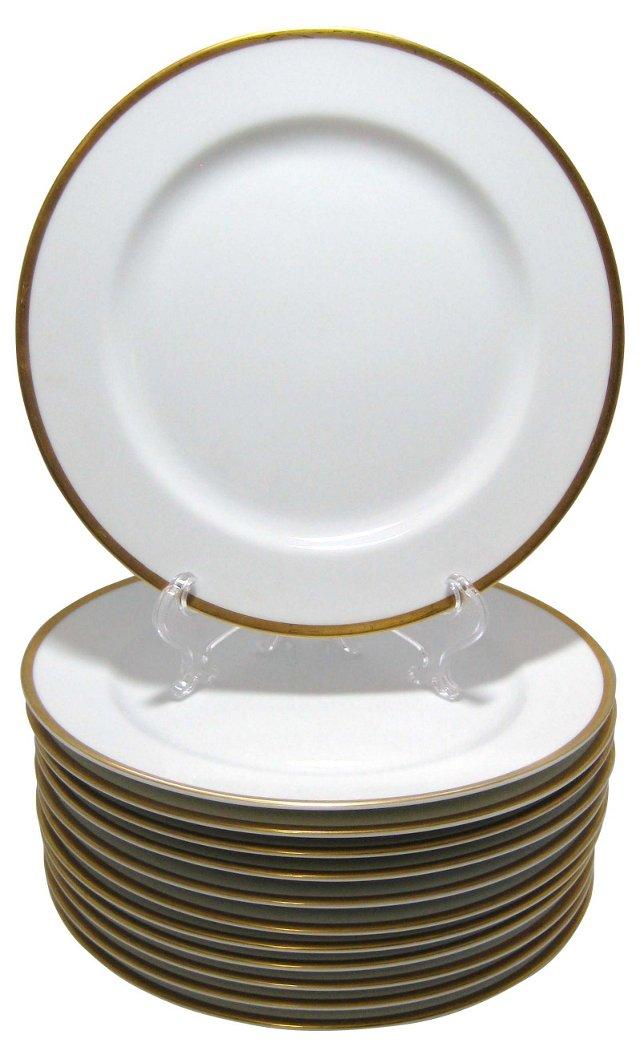 Gold Rim Dinner Plates, S/12