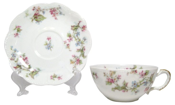 French Floral Cup & Saucer