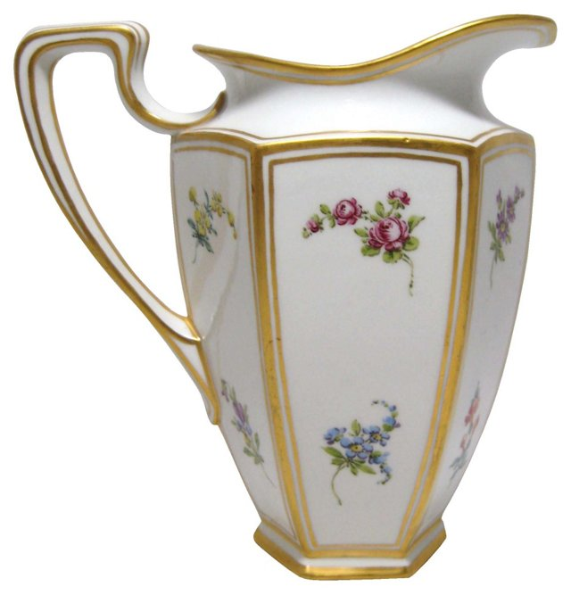 Limoges Floral Water Pitcher