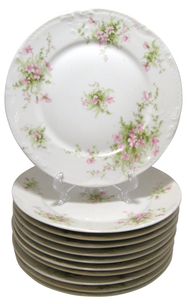 Haviland Floral Luncheon Plates, S/11