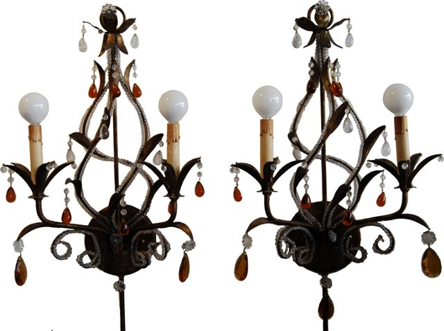 2-Arm Crystal Sconces, Pair