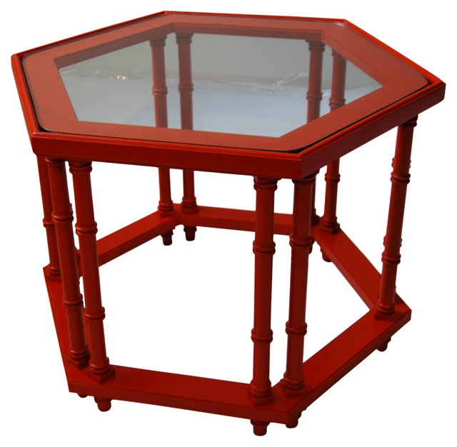 Orange Hexagonal Side Table