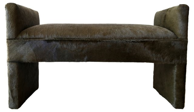 Green Cowhide Bench