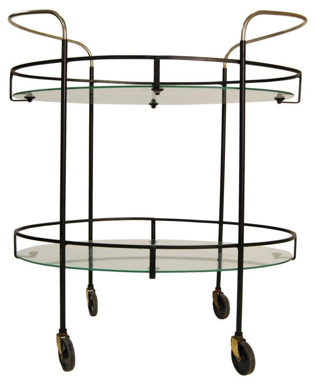 Steel, Brass & Glass Bar Cart