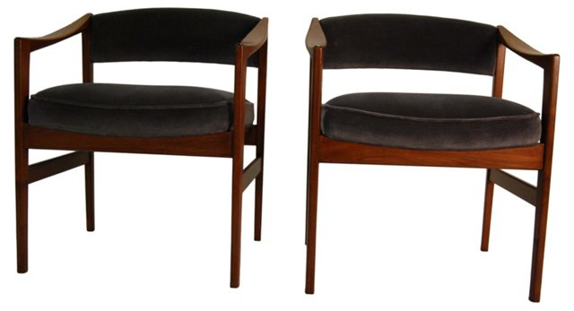 Danish   Modern-Style  Chairs, Pair
