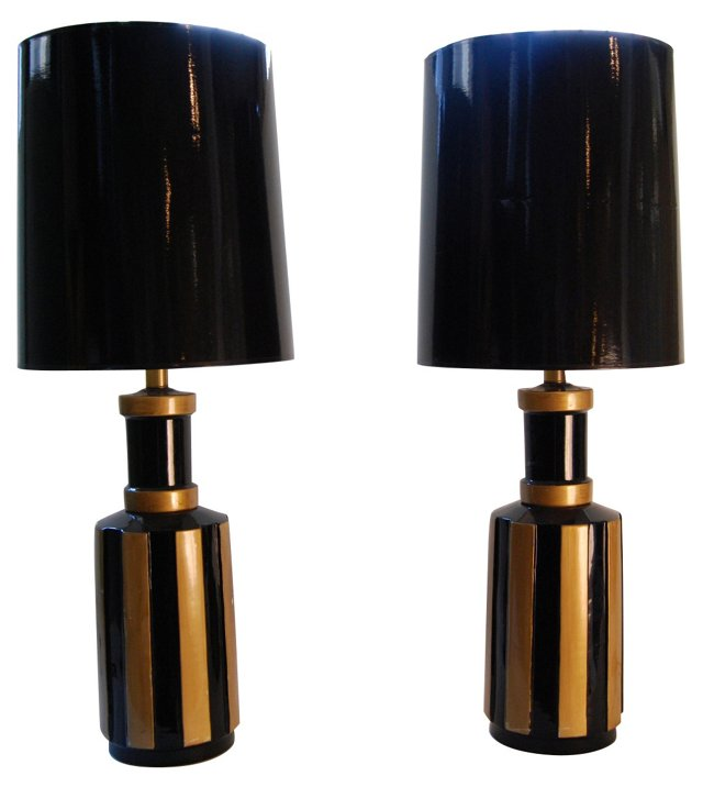 Black & Gold Striped Lamps, Pair