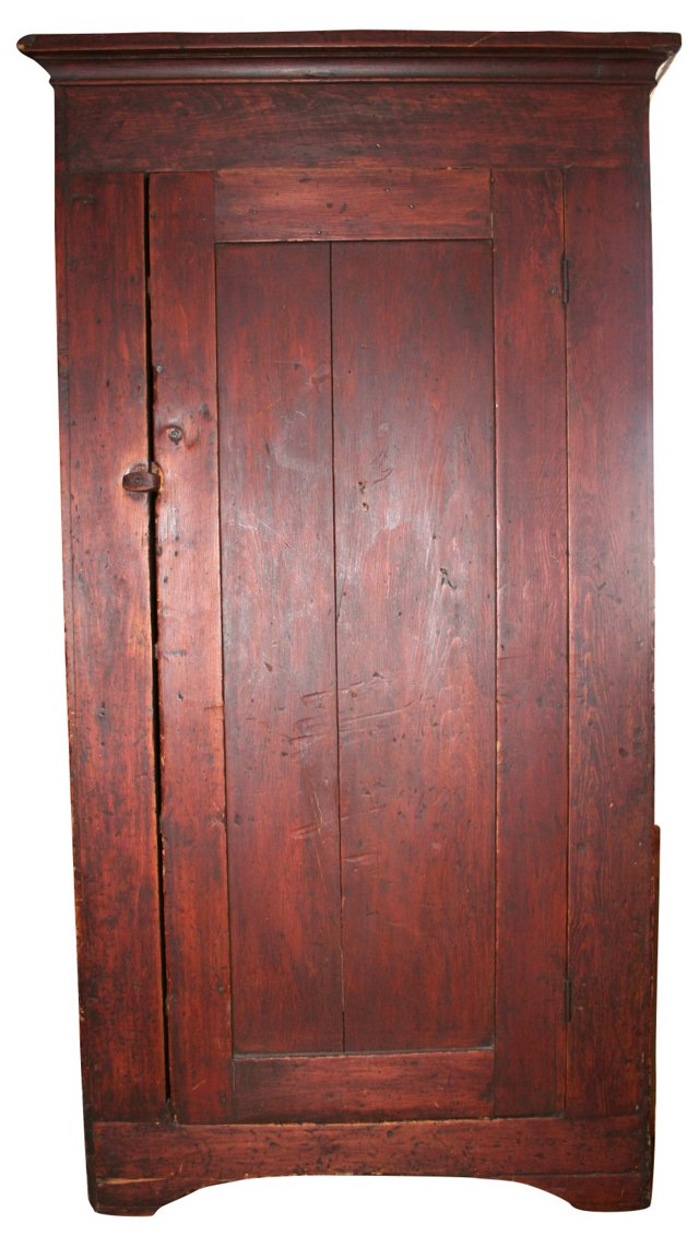 19th-C.Full Size Red American Cupboard
