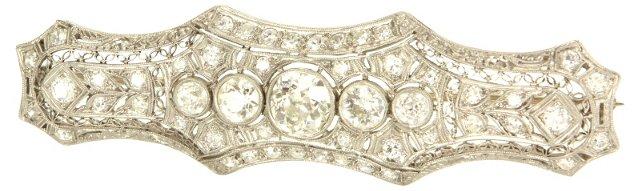 Art Deco Diamond     Bar Brooch
