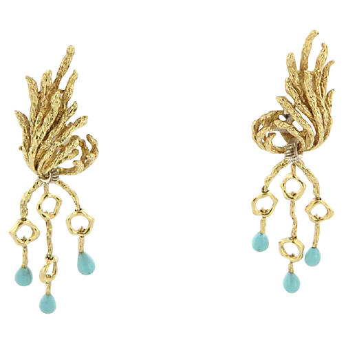 Persian Turquoise & Diamond Earrings
