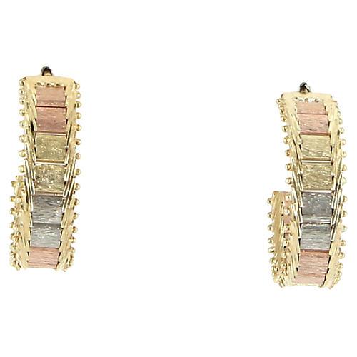 Triple-Tone 14K Gold Hoop Earrings