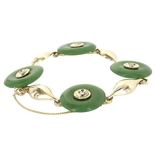 14K Gold Jade & Diamond Bracelet