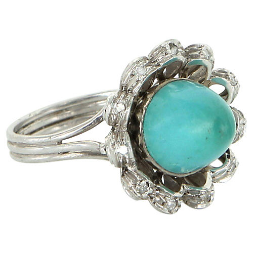 Turquoise & Diamond Cocktail Ring