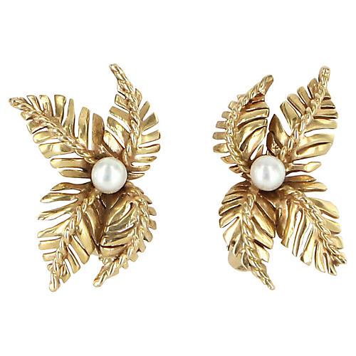14K Gold & Cultured Pearl Leaf Earrings