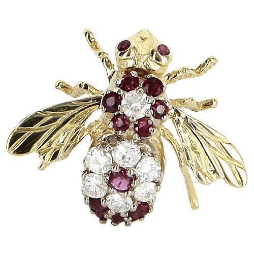 Diamond & Ruby Bumble Bee Pin