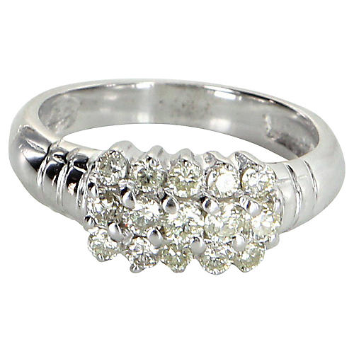 3 Row Diamond Cluster Ring 14k Gold