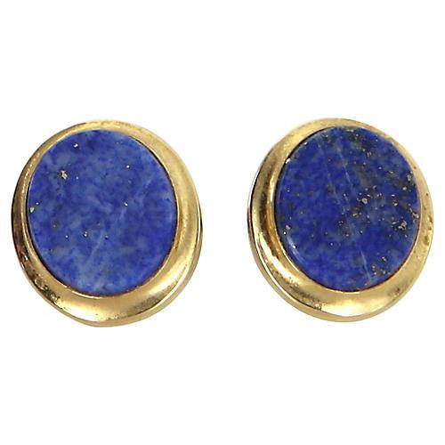 Oval Lapis Lazuli Stud Earrings