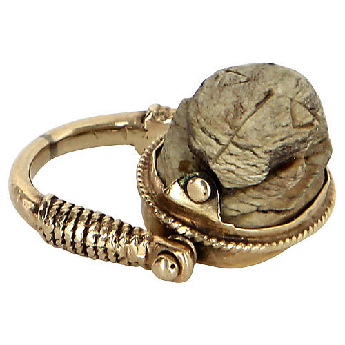 Egyptian Scarab Beetle Flip Ring 14k