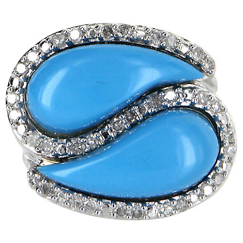 Turquoise & Diamond East West Ring