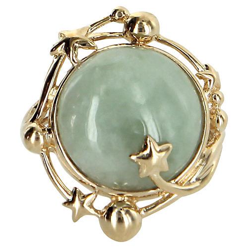 Celestial Moon & Star Jade Cocktail Ring