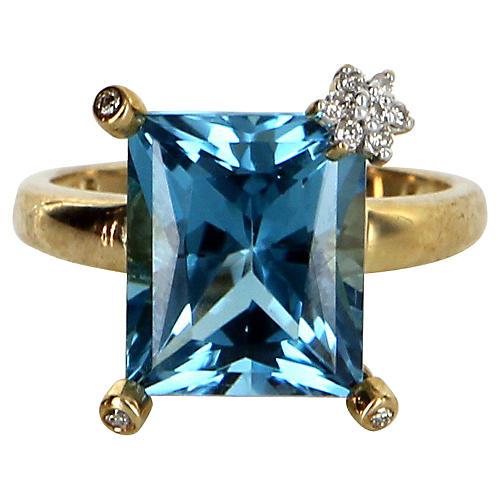 London Blue Topaz Diamond Flower Ring