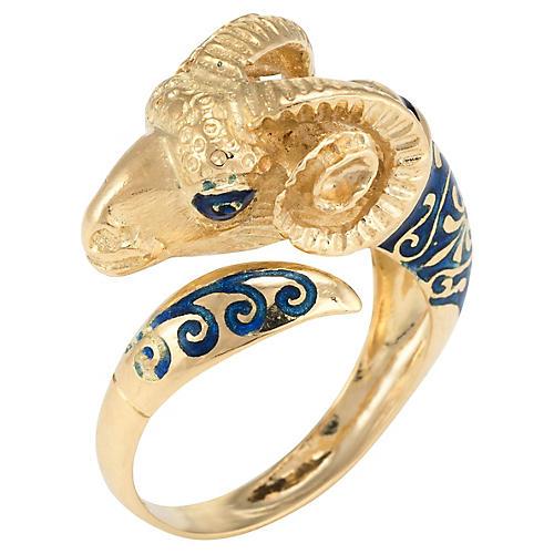 18k Gold Ram Aries Enamel Ring