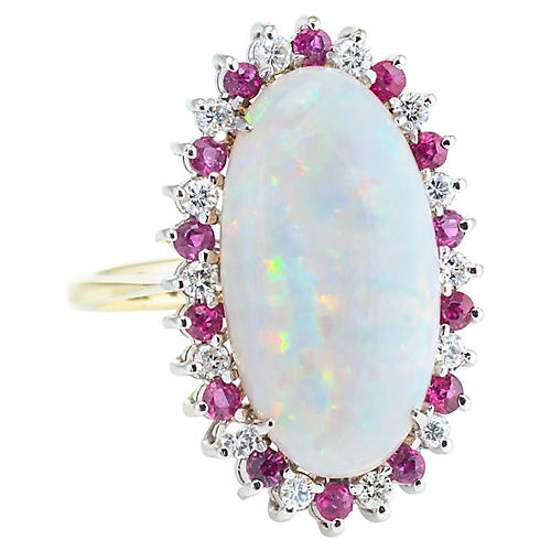 Opal Diamond Ruby Cocktail Ring
