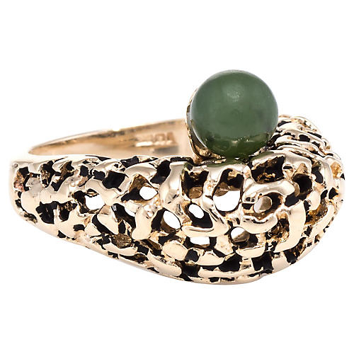 14k Jade Honeycomb Dome Ring