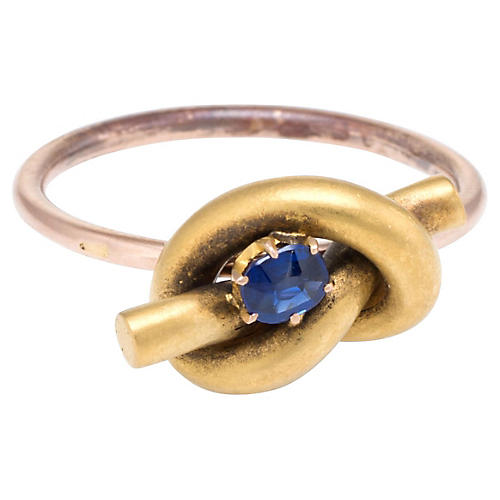 18k Victorian Lovers Knot Sapphire Ring