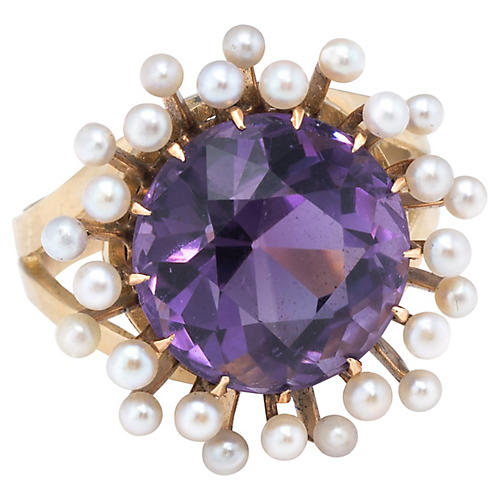 14k Amethyst Seed Pearl Cocktail Ring