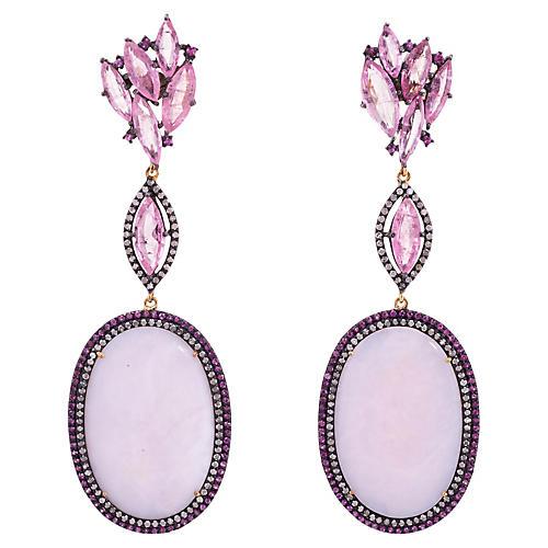 Pink Opal Tourmaline Diamond Earrings