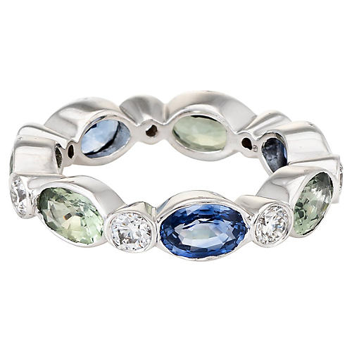 Colored Sapphire Diamond Eternity Ring
