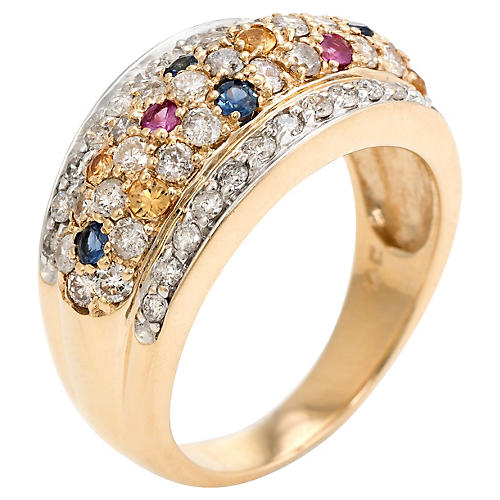 Diamond Colored Sapphire Dome Band Ring