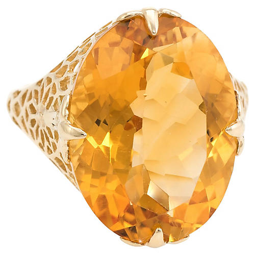 Large Oval Citrine Filigree Ring