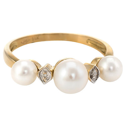 Cultured Pearl Diamond Band