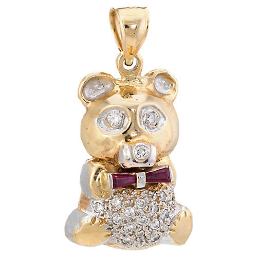 Diamond & Ruby Teddy Bear Pendant
