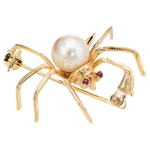 14K Pearl Spider Brooch w/ Ruby Eyes