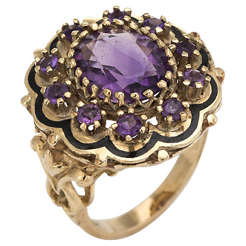 Amethyst Black Enamel Cocktail Ring