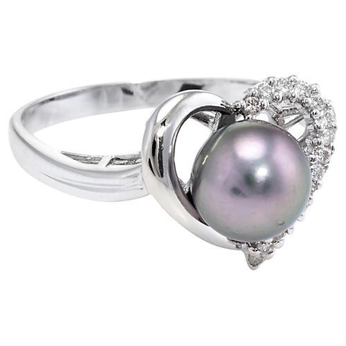 Cultured Black Pearl Diamond Heart Ring