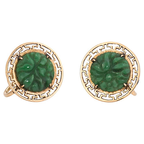 14K Carved Jade Flower Earrings