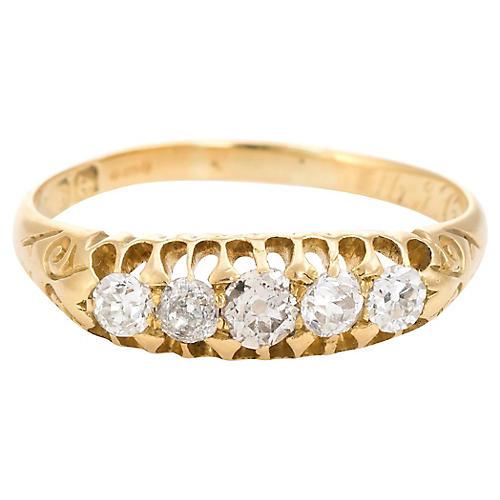 Edwardian Old Mine Cut 5 Diamond Ring
