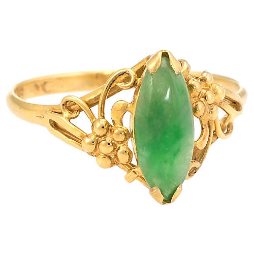 Jade Navette Cocktail Ring