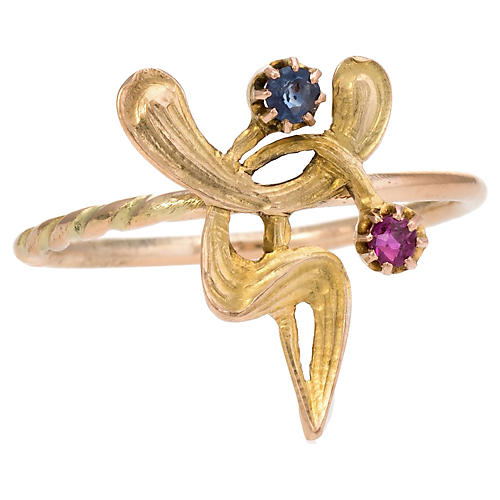 Art Nouveau Abstract Conversion Ring