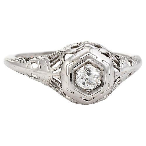 Art Deco 18K Gold & Diamond Ring